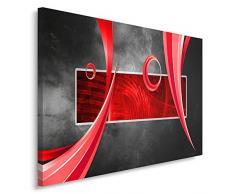 Feeby, Wandbild - 1 Teilig - 80x120 cm, Leinwand Bild Leinwandbilder Bilder Wandbilder Kunstdruck, ABSTRAKTION, KOMPOSITION, ROT, GRAU