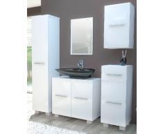 VCM Badmöbel Set 5-tlg. Komplettset Bad Badezimmer Schrank Unterschrank Spiegel weiß / Edelglanz Carlos mit Standfüße