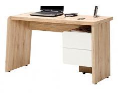 Jahnke CU-CULTURE C 130 Weiss/Sanremo EI hell Schreibtisch, E1-Holzwerkstoffplatten, beschichtet, 130 x 50 x 75 cm