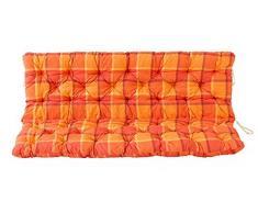 Ambientehome 3er Bank Sitzkissen und Rückenkissen Hanko, kariert orange, ca 150 x 98 x 8 cm, Bankauflage, Polsterauflage