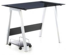 hjh OFFICE 673925 Computertisch DELPHI silber schwarzglas, ideal für Home Office und Büro, robuste langlebige Glasfläche, solider Computertisch, Schreibtisch, Büroschreibtisch, Jugendschreibtisch
