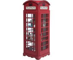 Kare London Telephone, 76383, roter Vitrinenschrank, englischen Telefonzelle in Vintage-Optik (H/B/T) 140x53x50,7cm