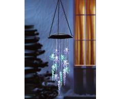 ABC Home Garden Eiskristalle Windspiel Solarleuchte Hängeleuchte LED Solarbetrieben EIN-& Ausschalter Lichtsensor, blau, grün