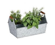 Relaxdays, Silber Zinkkasten 6 Fächer, Werkzeug-& Blumenkasten, Flaschenträger mit Holzgriffen, Balkon, Eisen verzinkt