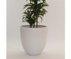 Pflanzkübel Blumenkübel Blumentopf Fiberglas rund konisch D60xH60cm perlmutt weiß.