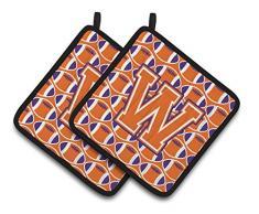 Caroline s Treasures Buchstabe W Fußball orange, weiß & Kronjuwelen Paar Topflappen cj1072-wpthd, 7.5hx7.5 W, multicolor