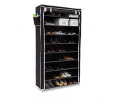 Relaxdays Schuhschrank VALENTIN hoch HxBxT: 161 x 88 x 30 cm Schuhregal mit Stoffbezug und 10 Ablagen Stoffschrank mit Reißverschluss für staubfreie Lagerung Schuhständer für 45 Paar Schuhe, schwarz