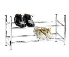 Wenko 7050100 Schuhregal ausziehbar - stapelbar, für 10 Paar Schuhe, verchromtes Metall, 64-119 x 35 x 23 cm, Chrom