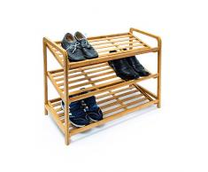 Relaxdays Schuhregal Bambus HxBxT 67x70,5x33 cm schräge Schuhablage mit 3 geräumigen Ebenen aus natürlichem Bambus als Schuhständer und praktisches Accessoire für den Flur und die Wohnung, natur