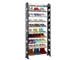 iKayaa 10 Ebenen Schuhregal, Schuhablage für 40 Paar Schuhe, 158 x 65 x 30 cm