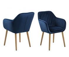 AC Design Furniture Wendy Esszimmerstuhl, Stoff, dunkelblau, 59 x 57 x 83 cm