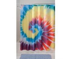 InterDesign Tie Dye Duschvorhang | kunstvoller Vorhang für Badewanne und Dusche in 183,0 cm x 183,0 cm | Duschvorhang aus Stoff mit Batik-Muster| Polyester bunt