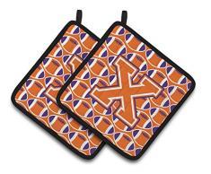 Caroline s Treasures Buchstabe X Fußball orange, weiß und Kronjuwelen Paar Topflappen cj1072-xpthd, 7.5hx7.5 W, multicolor