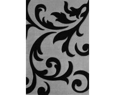 Lalee 347137985 Moderner Designer Teppich / Muster : Ranke / Konturenschnitt / Silber Schwarz / Grösse : 60 x 110 cm