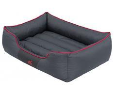HobbyDog CORSCL12 Hundebett, Sofa, Korb Tierbett Comfort, Größe XL, 82 x 62 cm, grau mit einem roten Streifen