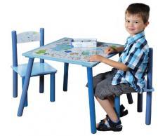 Kesper 17721 1 Kindertisch mit 2 Stühlen, Motiv: Dino, MDF farbig lackiert, FSC