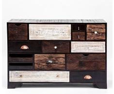 Kommode Finca 14 Schübe, modernes, schmales Sideboard, Kommodenschrank aus Mangoholz, braun-weiß (H/B/T) 80x114x35cm