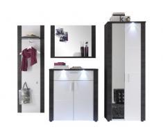 trendteam XP1410 Garderobe Flurgarderobe Garderoben Set 4-tlg| Weiß und Esche grau| 267 x 184 cm| inkl. Beleuchtung