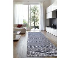 benuta Teppich Läufer Sloan, Wolle, Baumwolle, Blau, 66 x 200.0 x 2 cm