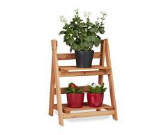 Relaxdays Blumentreppe aus Holz, Blumenständer für innen, 2-stufig, Leiterregal, Klappbar, HBT: ca. 51 x 41 x 25 cm, braun