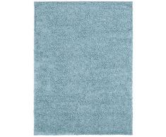 benuta Hochflorteppich Swirls Shaggy Langflor Hellblau 80x150 cm Kunstfaser schadstofffrei