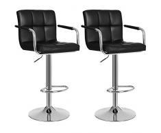 SONGMICS 2 x Barhocker Stuhl Barstuhl mit Armlehnen und Lehne Belastbar bis 200 kg Schwarz LJB93B