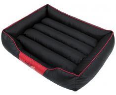 HobbyDog R5CESCZC1 Hundebett/Sofa / Korb Cesar Standard mit Streifen Kunstleder, Kodura, schwarz/rot, Größe R5, 125 x 98 x 25 cm