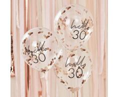 Ginger Ray Mix It Up Rose Gold Konfetti gefülltHello 30 Ballons Party