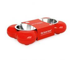 Hundenapf aus Edelstahl in Knochenform – für Wasser und Futter, rot