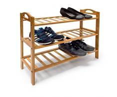 Relaxdays Bambus Schuhregal H x B x T: ca. 57,5 x 69 x 26 cm Schuhschrank mit praktischem seitlichen Griffen und 3 Ablagen für Ihre Schuhpaare zur Schuhaufbewahrung aus Holz als stabiles Regal, natur