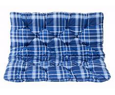 Ambientehome Sitzkissen und Rückenkissen Bank Hanko, kariert blau, ca 100 x 98 x 8 cm, Bankauflage, Polsterauflage