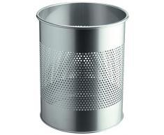 Durable 338123 Papierkorb Edelstahl rund 15 Liter, Perforation 165 mm, silber
