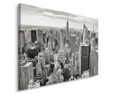 Feeby, Wandbild - 1 Teilig - 40x60 cm, Leinwand Bild Leinwandbilder Bilder Wandbilder Kunstdruck, NEW YORK, ARCHITEKTUR, SCHWARZ-WEIß