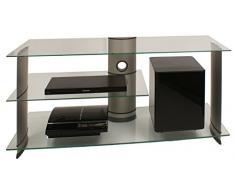 VCM TV Rack Lowboard Konsole Fernsehtisch LCD LED Möbel Bank Glastisch Tisch Schrank Aluminium Glas Silber Subuso