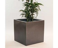 Pflanzkübel Blumenkübel Blumentopf Fiberglas Quadrat anthrazit metallic LxBxH 40x40x40cm