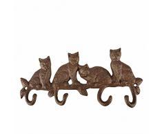 Esschert Design LH180 Kleiderhaken Katzen, Gusseisen, Antik-Braun