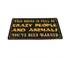 wizardry1986 Dieses Haus ist Full of Crazy Menschen und Tieren Sie Gewarnt Funny Fußmatte mit Rutschfeste Unterseite Neuheit Badematte Teppich exzellente Home Decor 40,6 cm × 61 cm