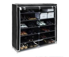 Relaxdays Schuhschrank VALENTIN breit HxBxT: 108,5 x 114 x 30,5 cm Schuhregal mit 7 Ablagen für 36 Paar Schuhe aus Vlies mit Stoffbezug Stoffregal für staubfreie Lagerung dank Reißverschluss, schwarz
