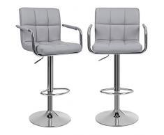 SONGMICS 2 x Barhocker Stuhl Barstuhl mit Armlehnen und Lehne Belastbar bis 200 kg Grau LJB93G
