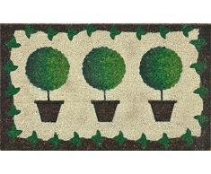 Verdemax 5463 Viereckige Fußmatte mit Pflanzentöpfen, Grün