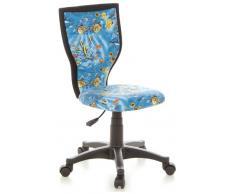 hjh OFFICE 670085 Kinder-Schreibtischstuhl KIDDY LUX Stoff-Bezug Blau Aquarium Fische Drehstuhl Ergonomisch