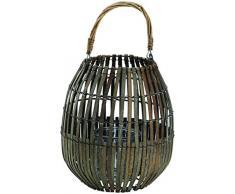 King Home L1766340 Laterne Bamboo Grey mit Glas, grau, Ø 25Xh 40