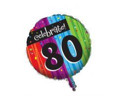 Creative Converting Partydekoration, rund, metallischer Ballon, Meilenstein-Feiern zum 80.