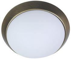 Niermann Standby Deckenleuchte Dekorring Altmessing, Glas/Metall, Opal Matt, 40 x 40 x 13 cm