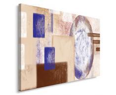 Feeby, Leinwandbild, Bilder, Wand Bild, Wandbilder, Kunstdruck 40x50cm, MODERN, ABSTRAKTION, MAKRO, KREISE, RECHTECKE, BEIGE, WEIß, BLAU