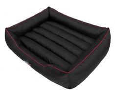 Hobbydog CORCCL3 HundeBett, Sofa, Korb, Tierbett Comfort, Größe XXL, 108 x 88 cm, schwarz mit einem roten Streifen