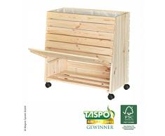 WAGNER GreenFAMILY - Mobiles Hochbeet - GreenBOX - Gr. L - Nadelholz natur FSC, 79 x 80 x 43/33 cm, 4 Rollen, 2 Feststeller, Stauraum-Klappe, inkl. Pflanztasche - 25013101