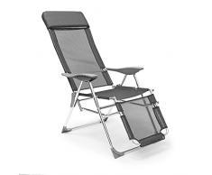 Relaxdays Liegestuhl klappbar 111 x 60 x 75 cm HxBxT, Klappstuhl m. Armlehnen, Liege 3 Positionen verstellbar, anthrazit
