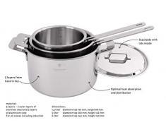 Professional Secrets Kitchen Kochtopf, Koch Topf, Koch Topf, Küchenzubehör, 5-ply Stahl / Aluminium, Silberfarben, Ø 24 cm, 6 L, 1024