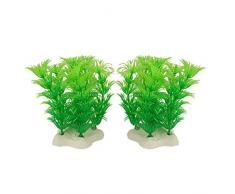 sourcingmap Kunstpflanze für Aquarien, Kunststoff, Grün, 2 Stück